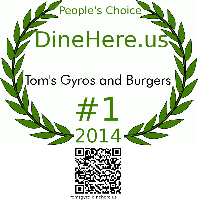 Tom's Gyros and Burgers DineHere.us 2014 Award Winner